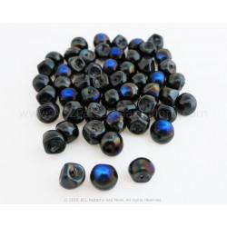 Czech Mushroom Beads - Jet Helio Blue