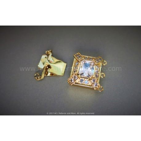 Multi-strand Mayan CZ Box Clasp - Gold