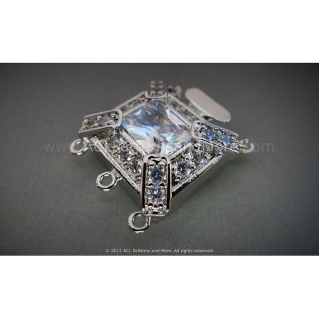 Multi-strand Mayan CZ Box Clasp - Platinum