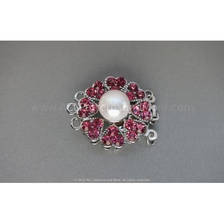 Multi-strand Flower Box Clasp - Hot Pink