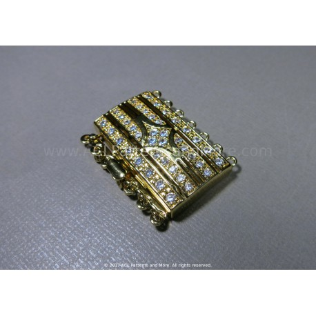 Multi-strand Gate CZ Box Clasp - Gold