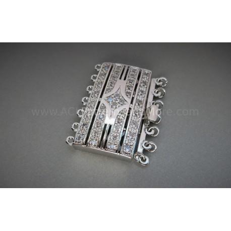 Multi-strand Gate CZ Box Clasp - Platinum