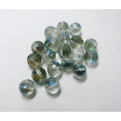 Round Faceted AB Beads - Ocean Green