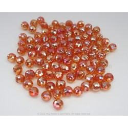 Round Faceted AB Beads - Amber
