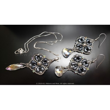 Elegant Drop Earrings and Pendant Set Kit - Hematite