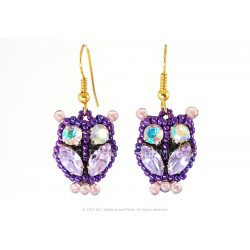 Owl Earrings - Lilac/Confetti