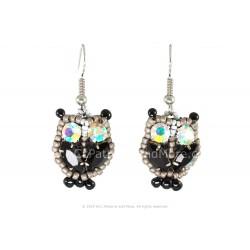 Owl Earrings - Black/Confetti
