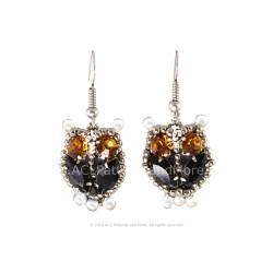 Owl Earrings - Black/Citrine