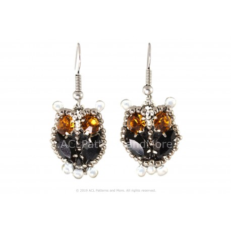 Owl Earrings - Black/Citrine