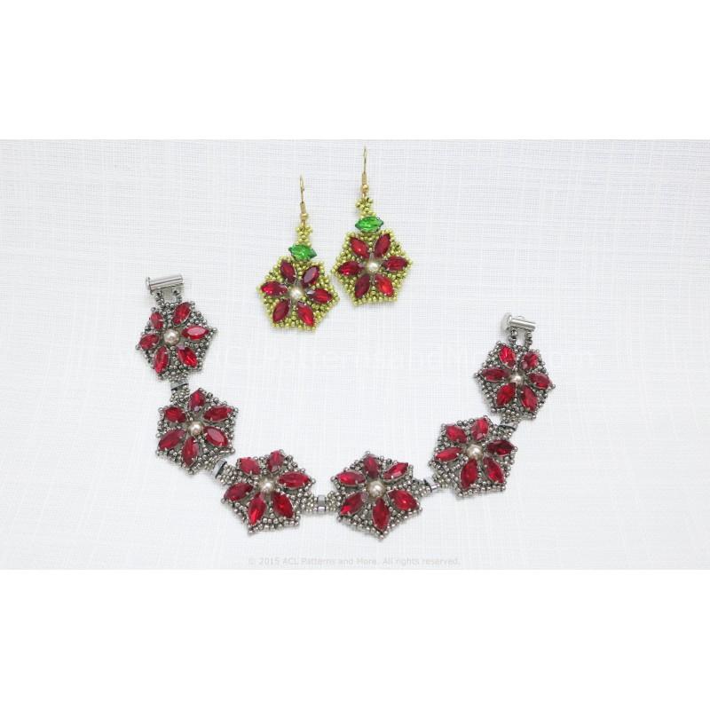 Poinsettia Bracelet And Earrings Pdf Pattern Acl