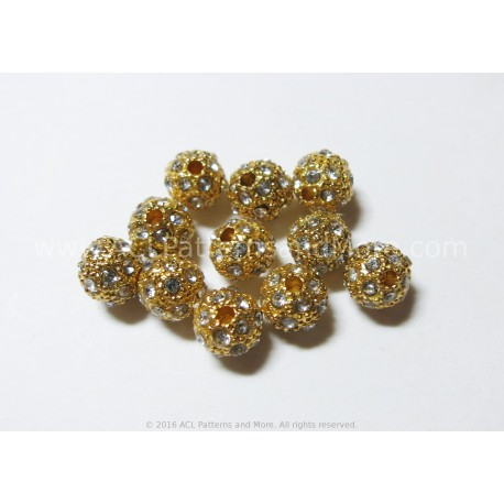 Rhinestone Beads - Gold