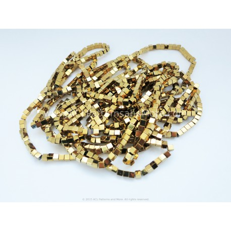 Cube Beads 4x4mm - Gold