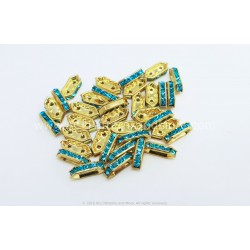Rhinestone Components - Aquamarine Gold