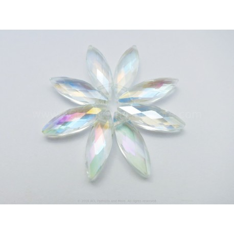 Small Faceted Oval Beads - Clear AB