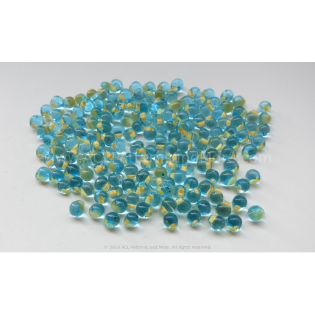 Drop Beads - Cream Lined Aqua Glass
