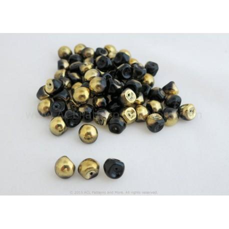 Czech Mushroom Beads - Jet/Gold