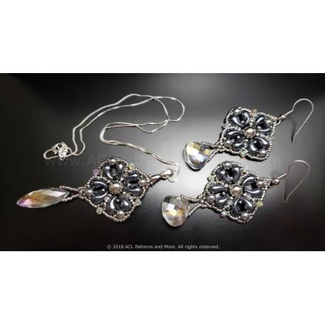 Elegant Drop Earrings and Pendant Set Kit - Hematite