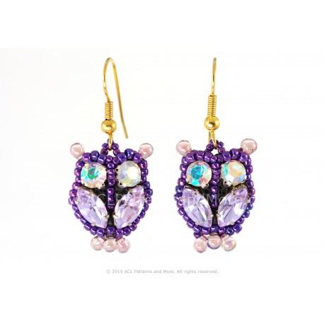 Owl Earrings - Lilac/Confetti