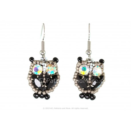 Owl Earrings - Black/Confetti
