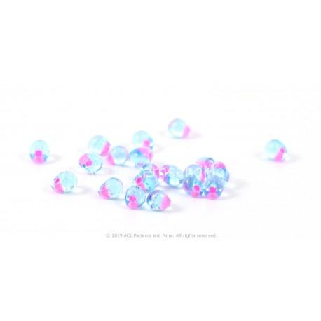 Drop Beads - Hot Pink Lined Aqua