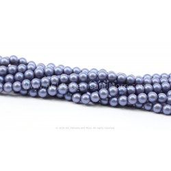 7mm Iridescent Glass Pearls - Blue