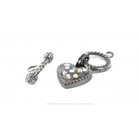 Heart Toggle Clasp - Gunmetal