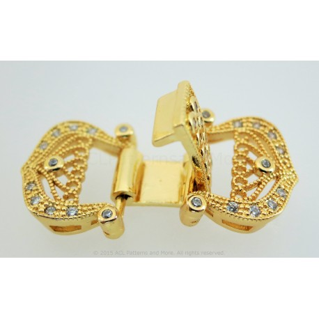 Filigree  and CZ Clasp - Gold