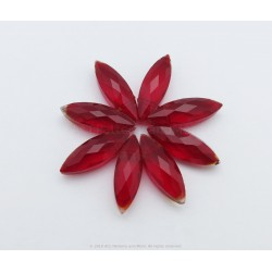 Small Faceted Oval Beads - Rojo