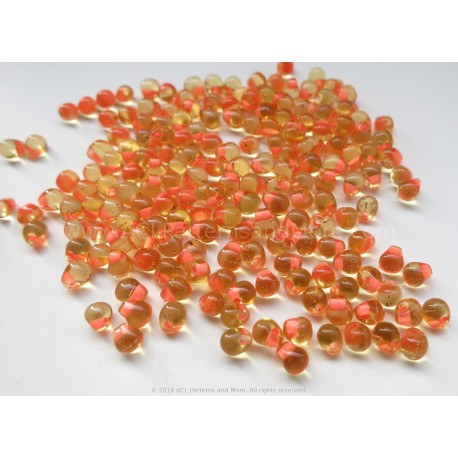 Drop Beads - Peach Lined Amber Glass
